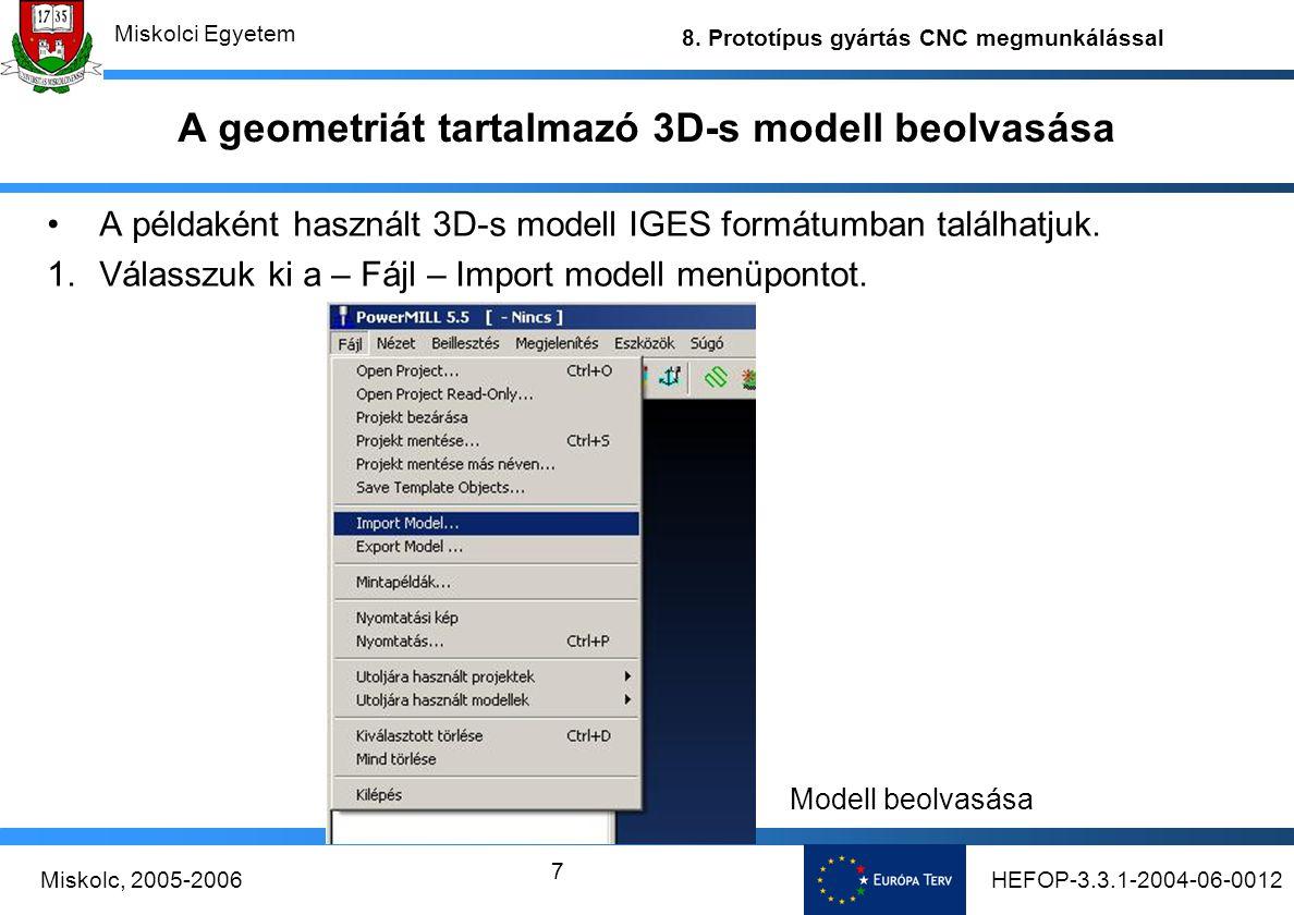 A geometriát tartalmazó 3D-s modell beolvasása