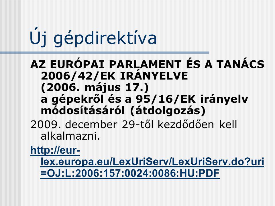 Új gépdirektíva AZ EURÓPAI PARLAMENT ÉS A TANÁCS 2006/42/EK IRÁNYELVE (2006. május 17.) a gépekről és a 95/16/EK irányelv módosításáról (átdolgozás)
