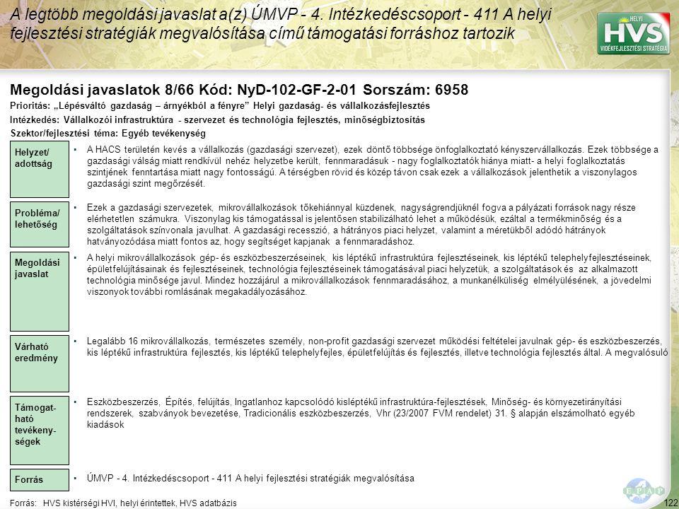Megoldási javaslatok 8/66 Kód: NyD-102-GF-2-01 Sorszám: 6958
