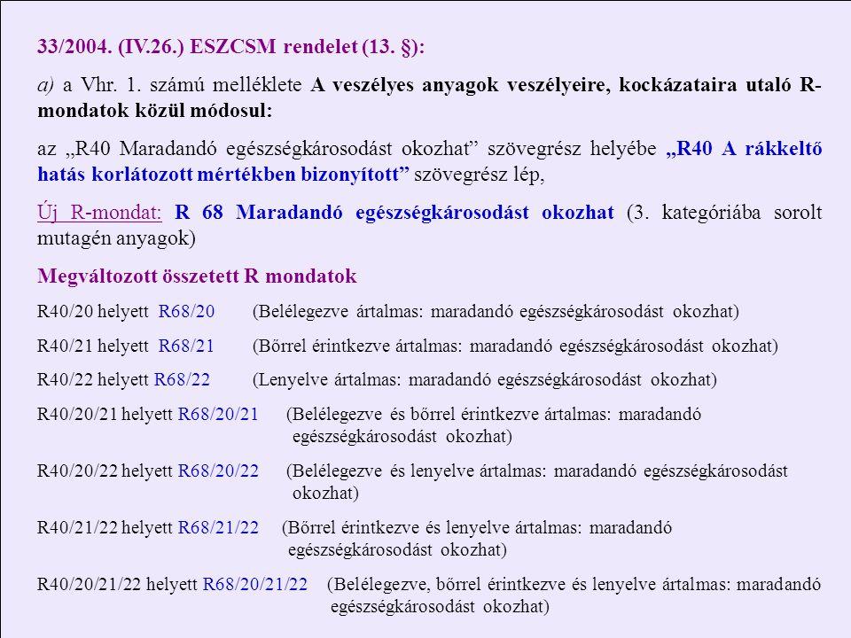 33/2004. (IV.26.) ESZCSM rendelet (13. §):