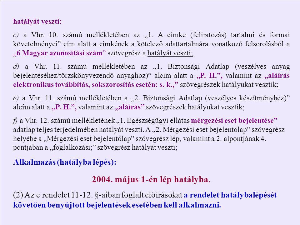 2004. május 1-én lép hatályba. Alkalmazás (hatályba lépés):