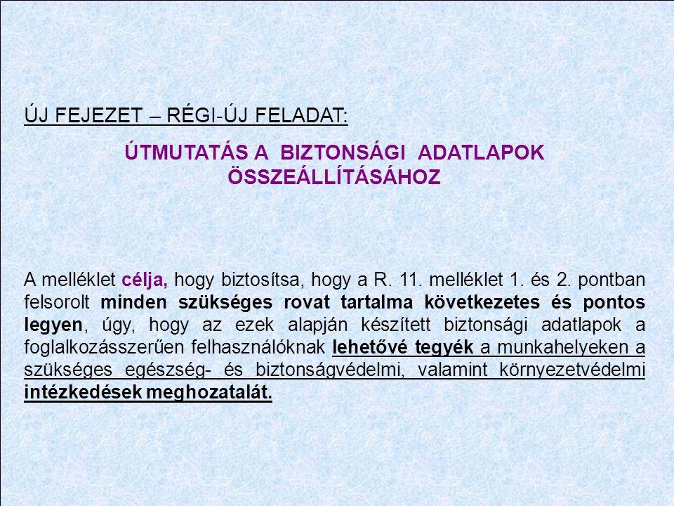 ÚTMUTATÁS A BIZTONSÁGI ADATLAPOK ÖSSZEÁLLÍTÁSÁHOZ