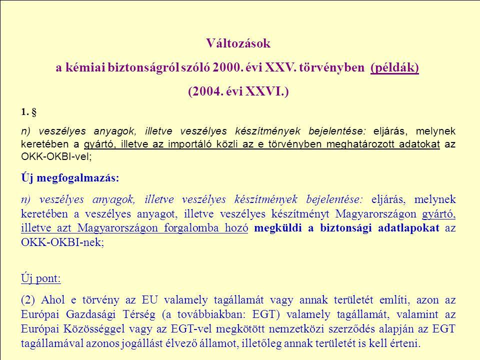 a kémiai biztonságról szóló 2000. évi XXV. törvényben (példák)
