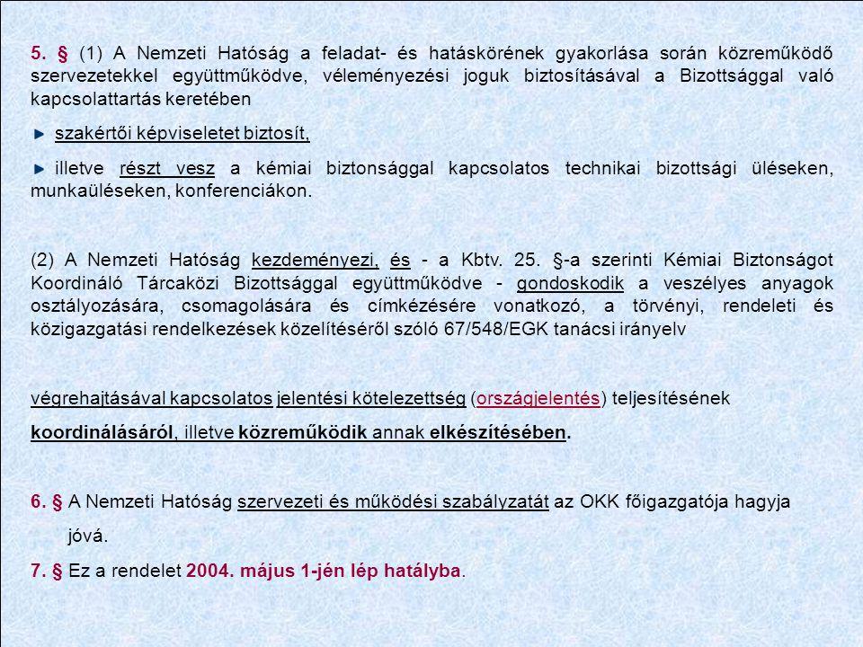 5. § (1) A Nemzeti Hatóság a feladat- és hatáskörének gyakorlása során közreműködő szervezetekkel együttműködve, véleményezési joguk biztosításával a Bizottsággal való kapcsolattartás keretében