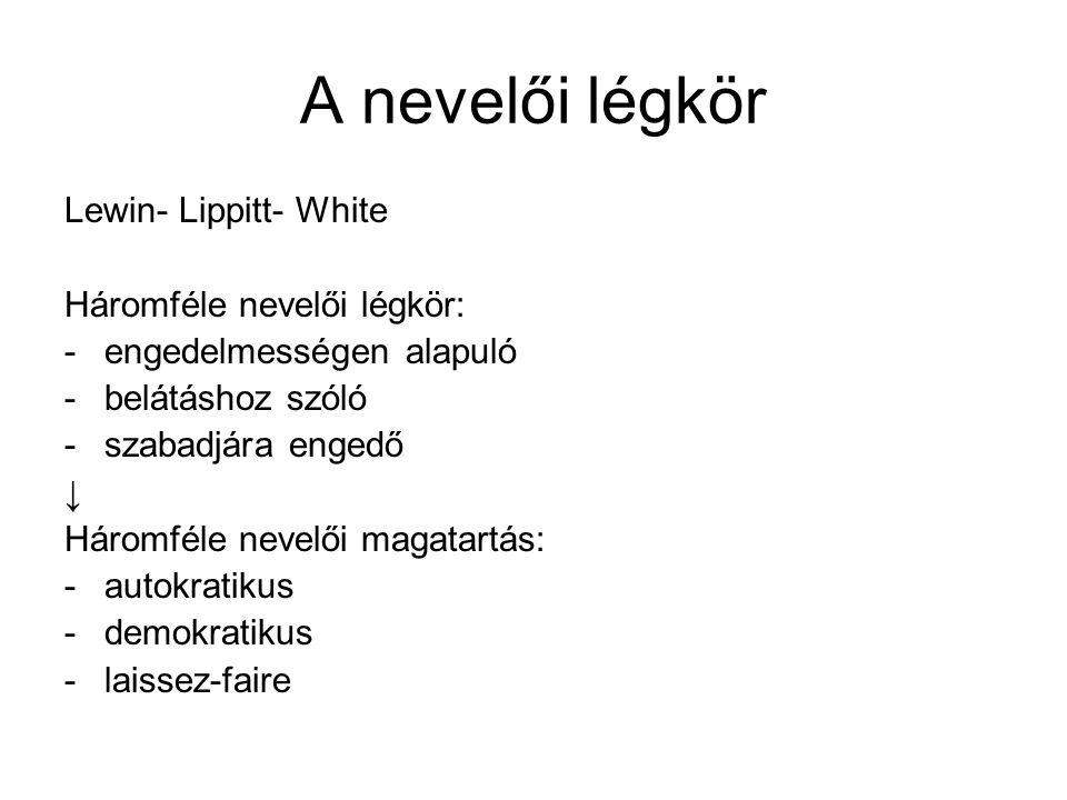 A nevelői légkör Lewin- Lippitt- White Háromféle nevelői légkör: