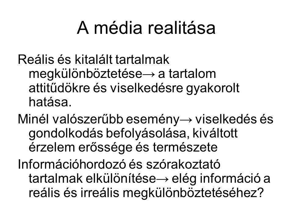 A média realitása Reális és kitalált tartalmak megkülönböztetése→ a tartalom attitűdökre és viselkedésre gyakorolt hatása.