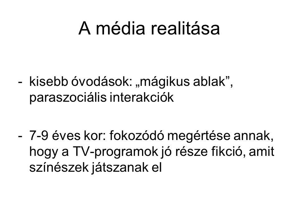 """A média realitása kisebb óvodások: """"mágikus ablak , paraszociális interakciók."""