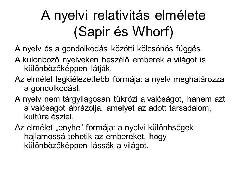 A nyelvi relativitás elmélete (Sapir és Whorf)