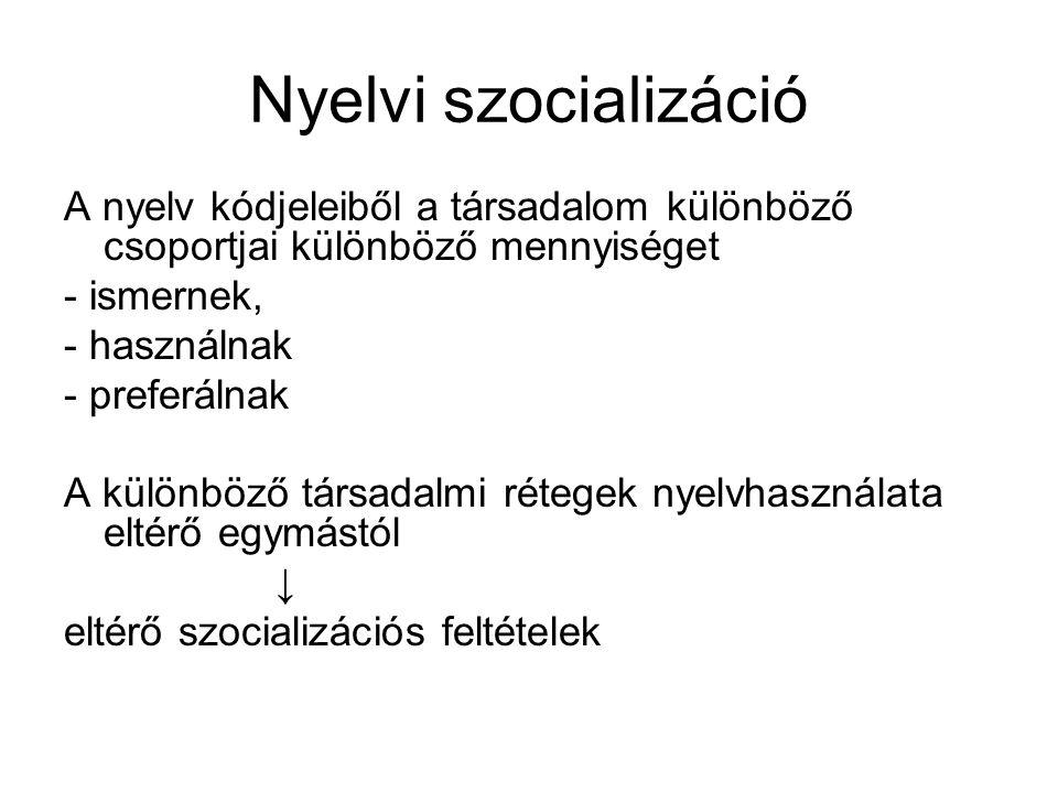 Nyelvi szocializáció A nyelv kódjeleiből a társadalom különböző csoportjai különböző mennyiséget. - ismernek,