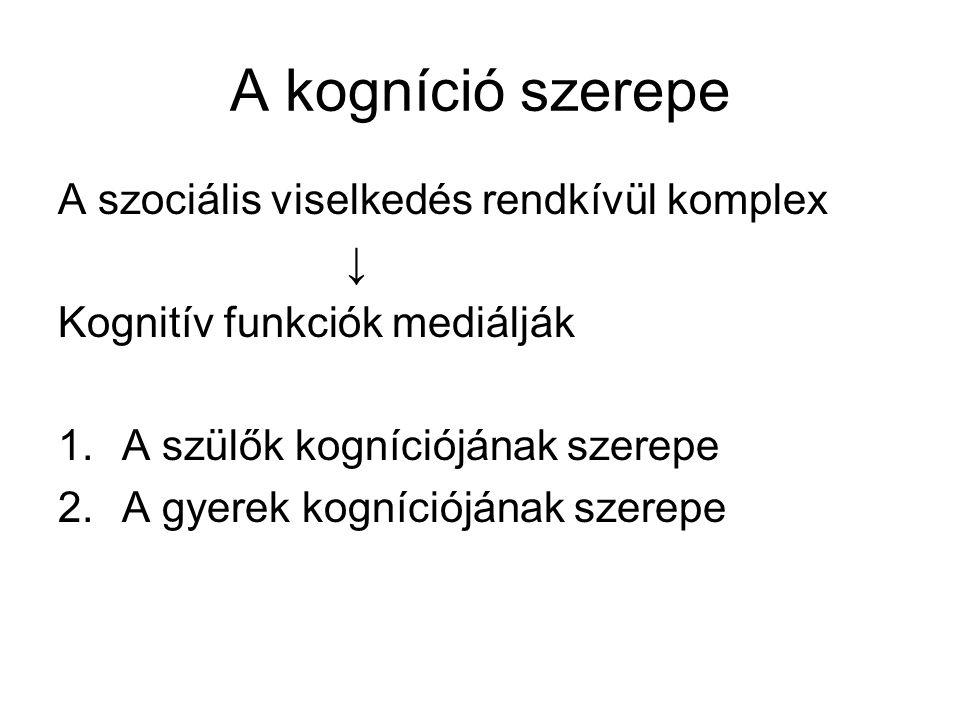 A kogníció szerepe A szociális viselkedés rendkívül komplex ↓