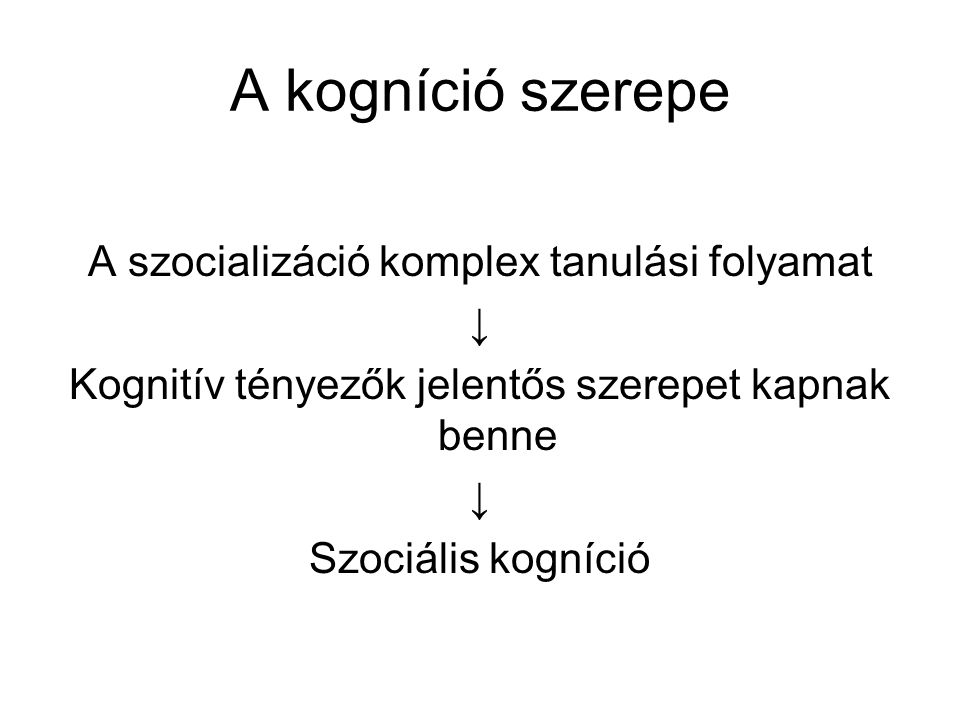 A kogníció szerepe A szocializáció komplex tanulási folyamat ↓