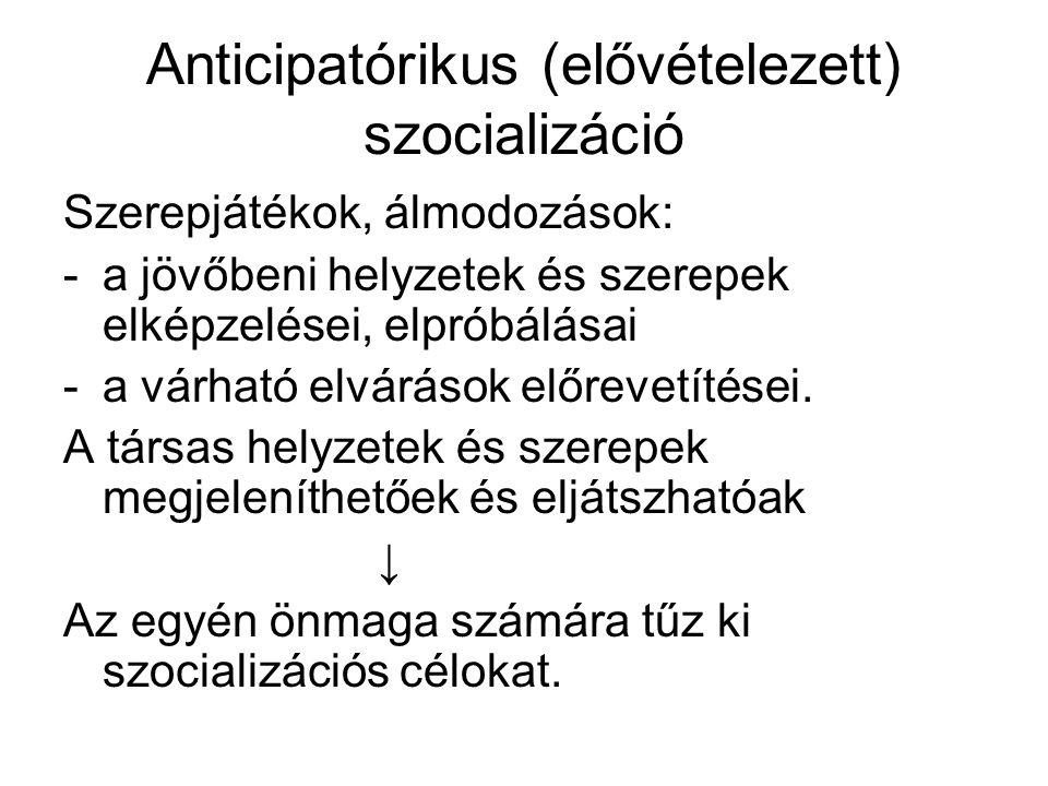 Anticipatórikus (elővételezett) szocializáció