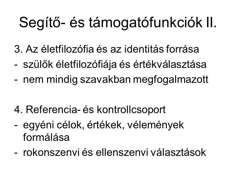 Segítő- és támogatófunkciók II.