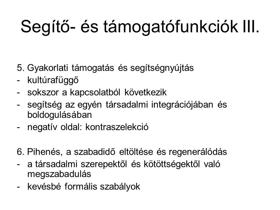 Segítő- és támogatófunkciók III.