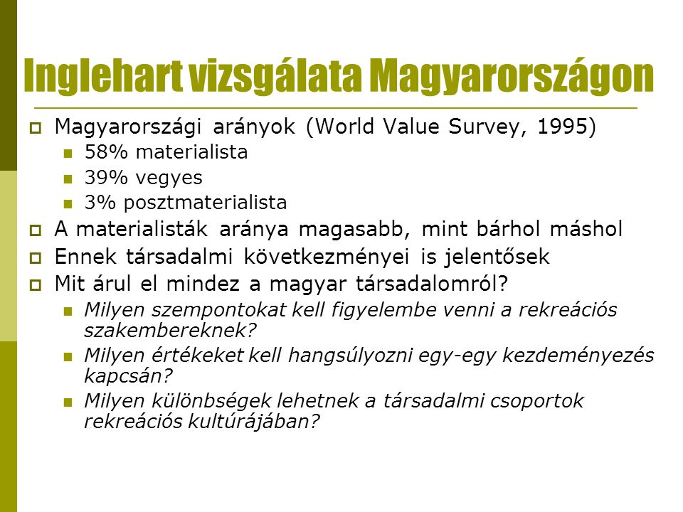 Inglehart vizsgálata Magyarországon