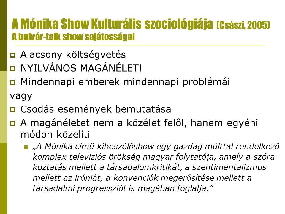 A Mónika Show Kulturális szociológiája (Császi, 2005) A bulvár-talk show sajátosságai