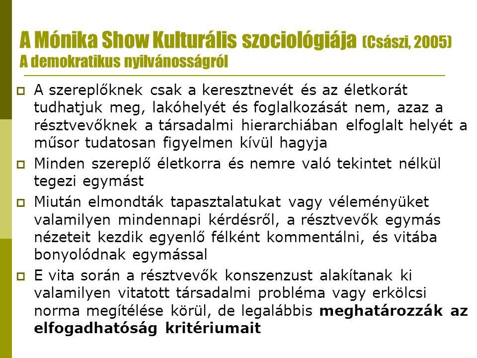 A Mónika Show Kulturális szociológiája (Császi, 2005) A demokratikus nyilvánosságról