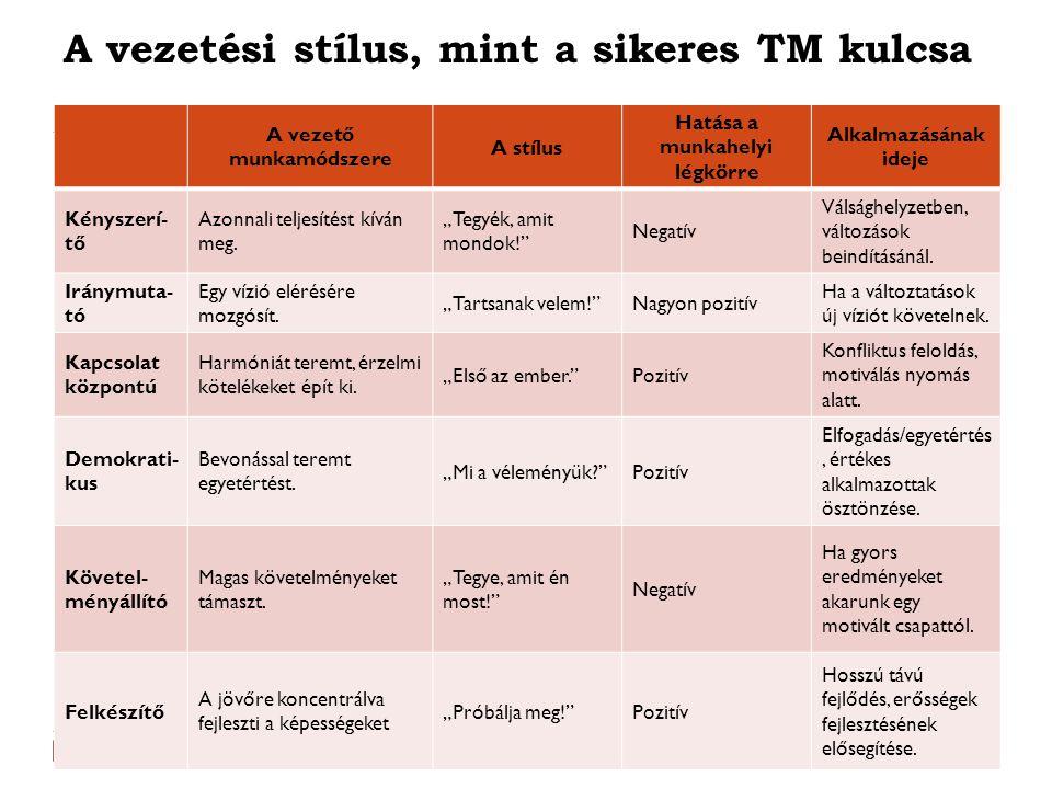 A vezetési stílus, mint a sikeres TM kulcsa