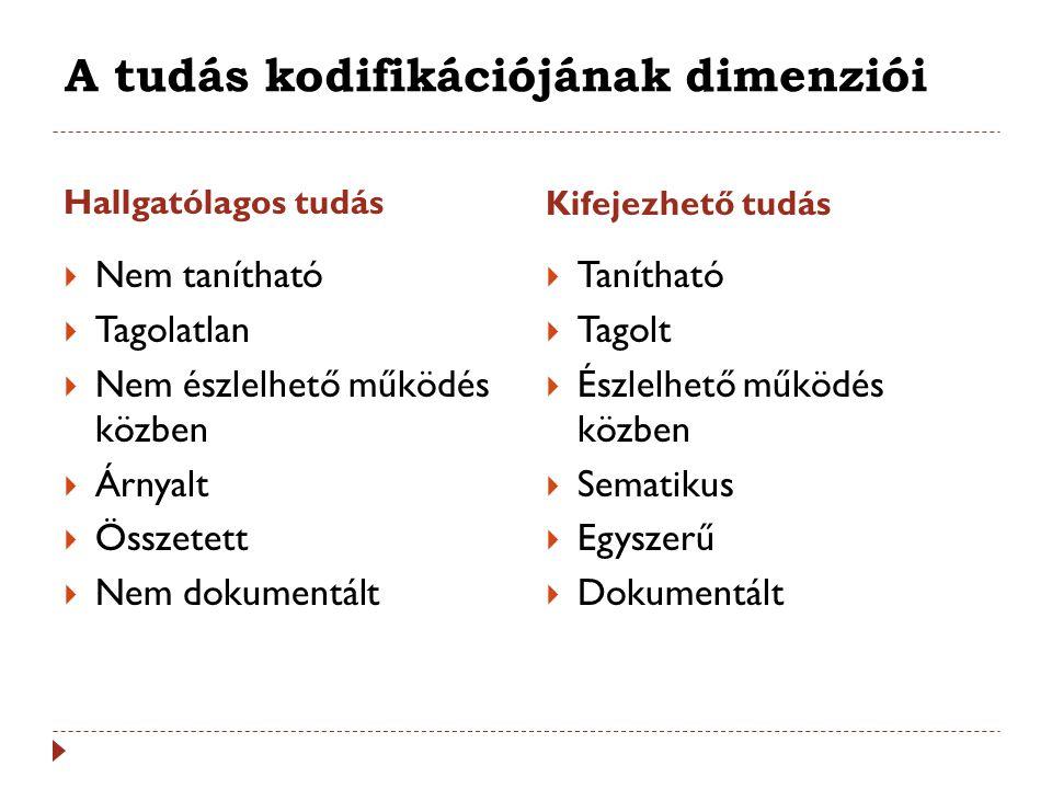 A tudás kodifikációjának dimenziói