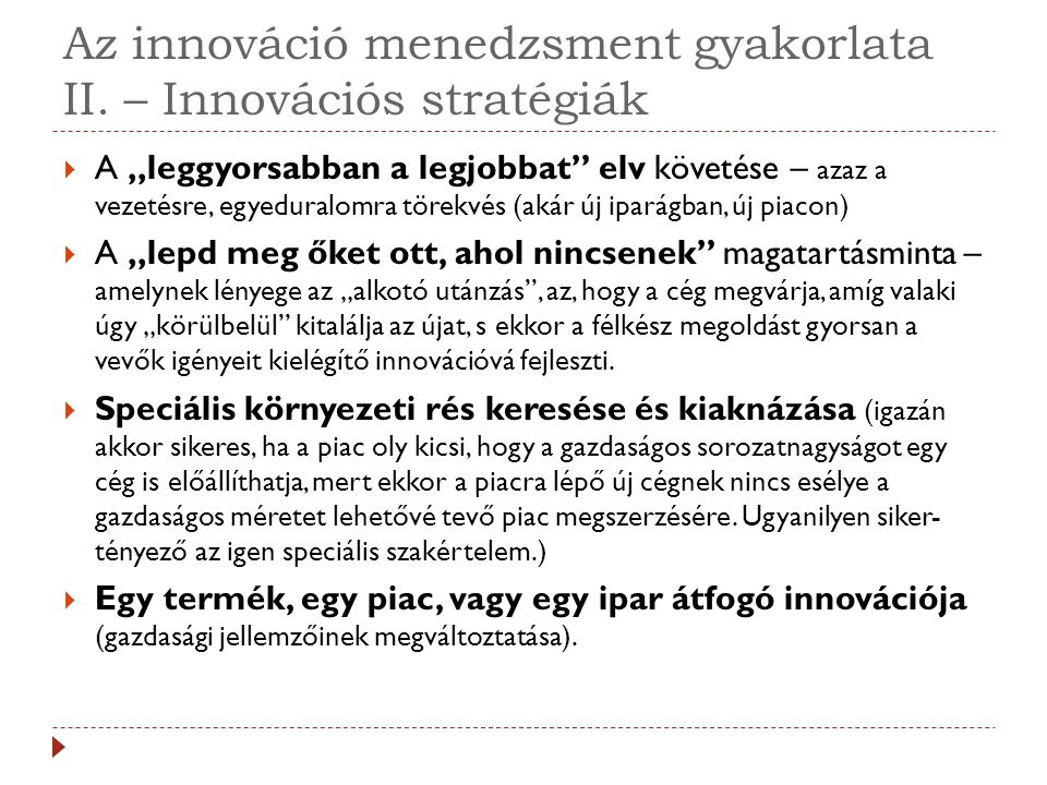 Az innováció menedzsment gyakorlata II. – Innovációs stratégiák