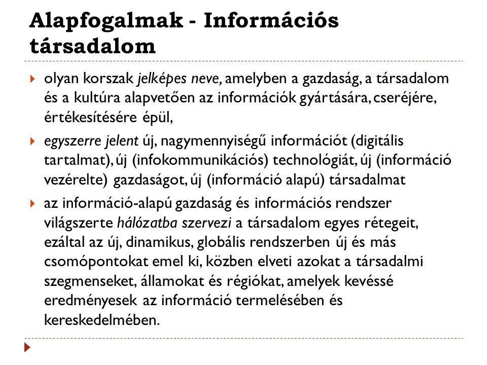 Alapfogalmak - Információs társadalom