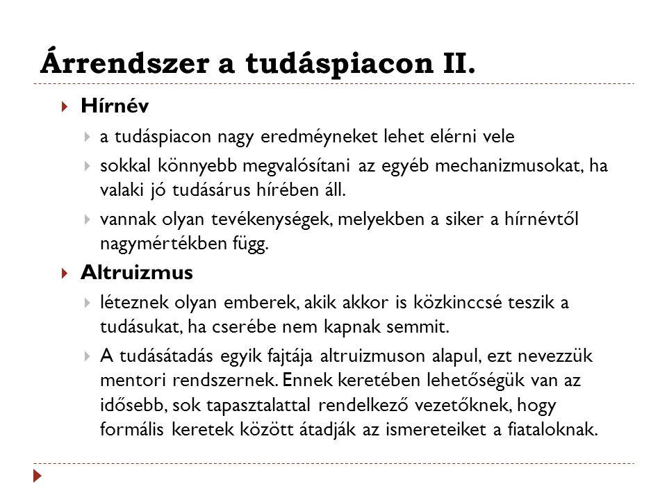 Árrendszer a tudáspiacon II.