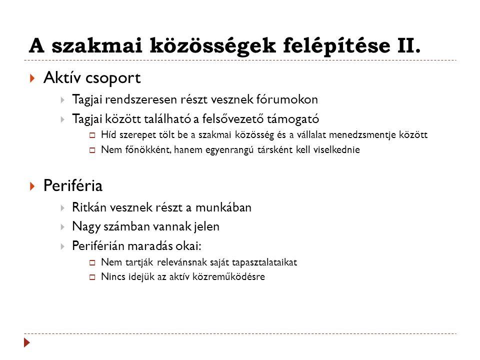 A szakmai közösségek felépítése II.