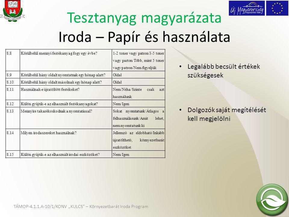 Tesztanyag magyarázata Iroda – Papír és használata