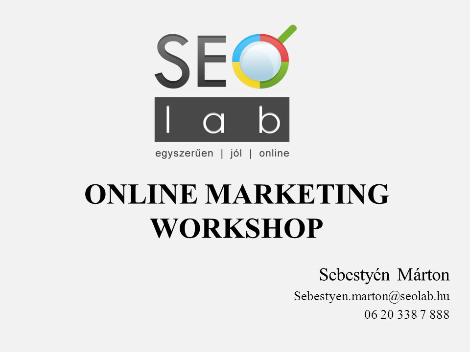 ONLINE MARKETING WORKSHOP