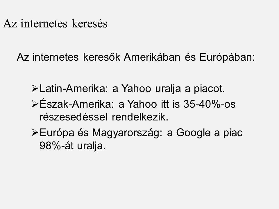 Az internetes keresés Az internetes keresők Amerikában és Európában: