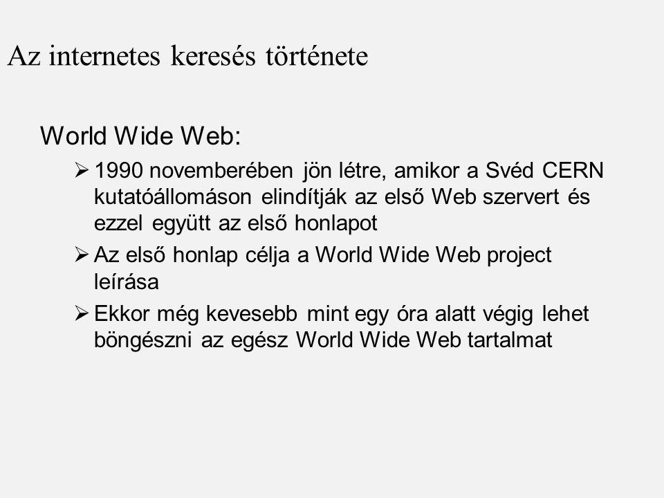 Az internetes keresés története
