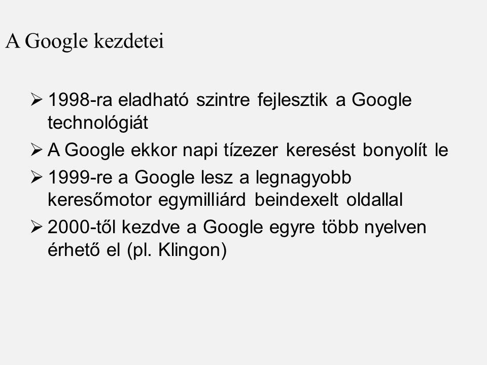 A Google kezdetei 1998-ra eladható szintre fejlesztik a Google technológiát. A Google ekkor napi tízezer keresést bonyolít le.