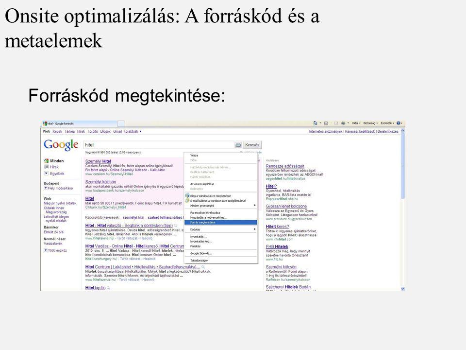Onsite optimalizálás: A forráskód és a metaelemek