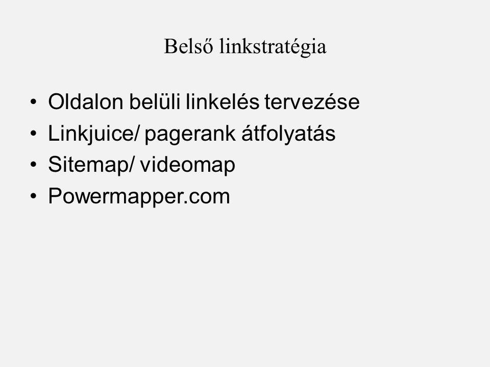 Belső linkstratégia Oldalon belüli linkelés tervezése. Linkjuice/ pagerank átfolyatás. Sitemap/ videomap.