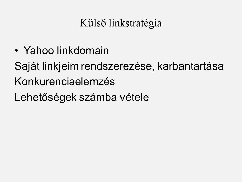 Külső linkstratégia Yahoo linkdomain. Saját linkjeim rendszerezése, karbantartása. Konkurenciaelemzés.