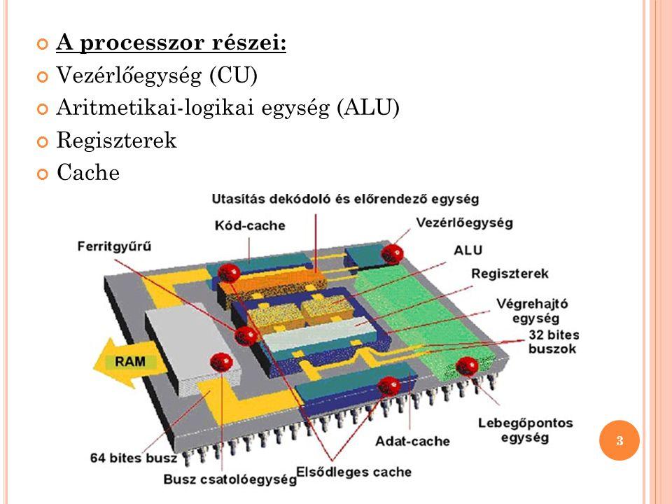 A processzor részei: Vezérlőegység (CU) Aritmetikai-logikai egység (ALU) Regiszterek Cache