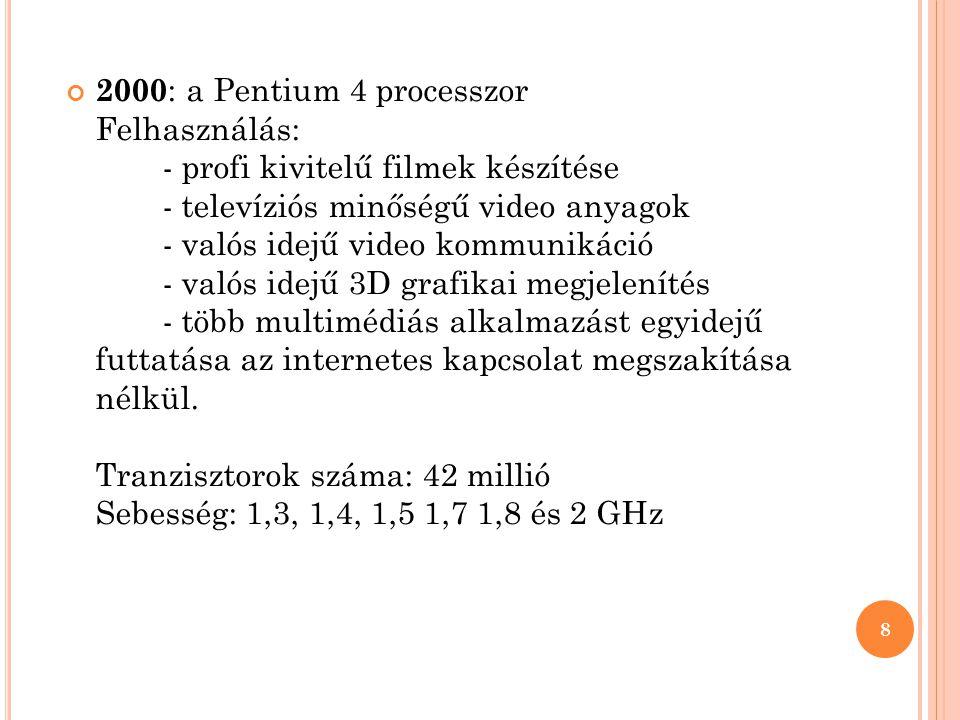 2000: a Pentium 4 processzor Felhasználás: