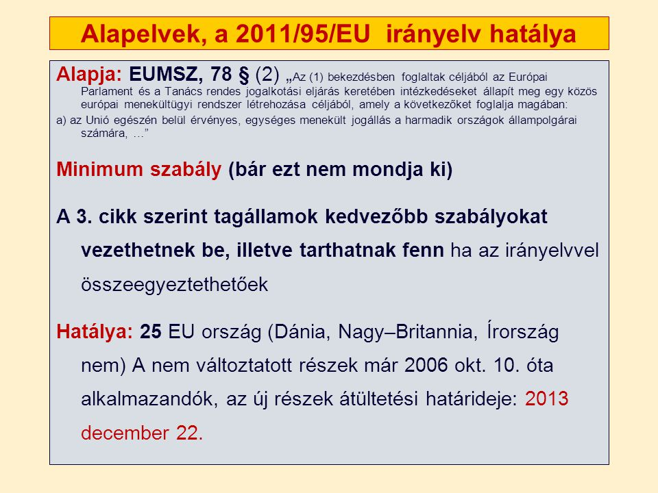 Alapelvek, a 2011/95/EU irányelv hatálya
