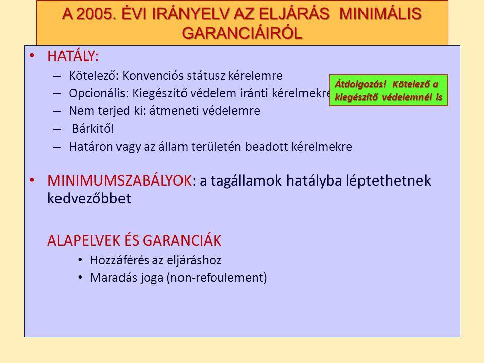 A 2005. ÉVI IRÁNYELV AZ ELJÁRÁS MINIMÁLIS GARANCIÁIRÓL