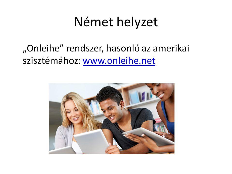 """Német helyzet """"Onleihe rendszer, hasonló az amerikai szisztémához: www.onleihe.net"""