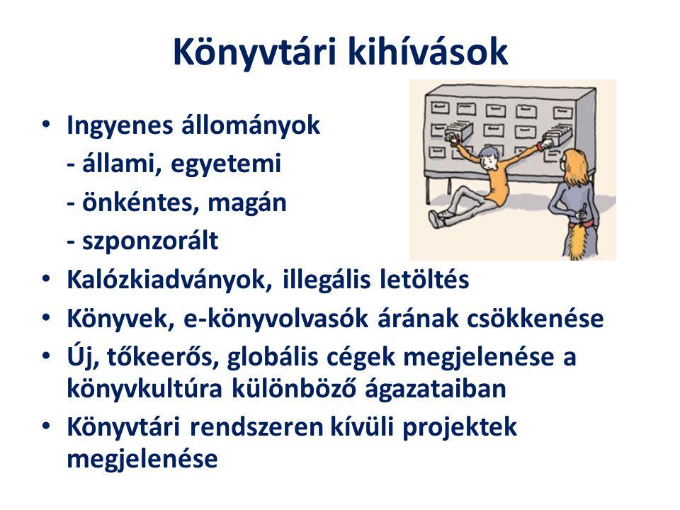 Könyvtári kihívások Ingyenes állományok - állami, egyetemi