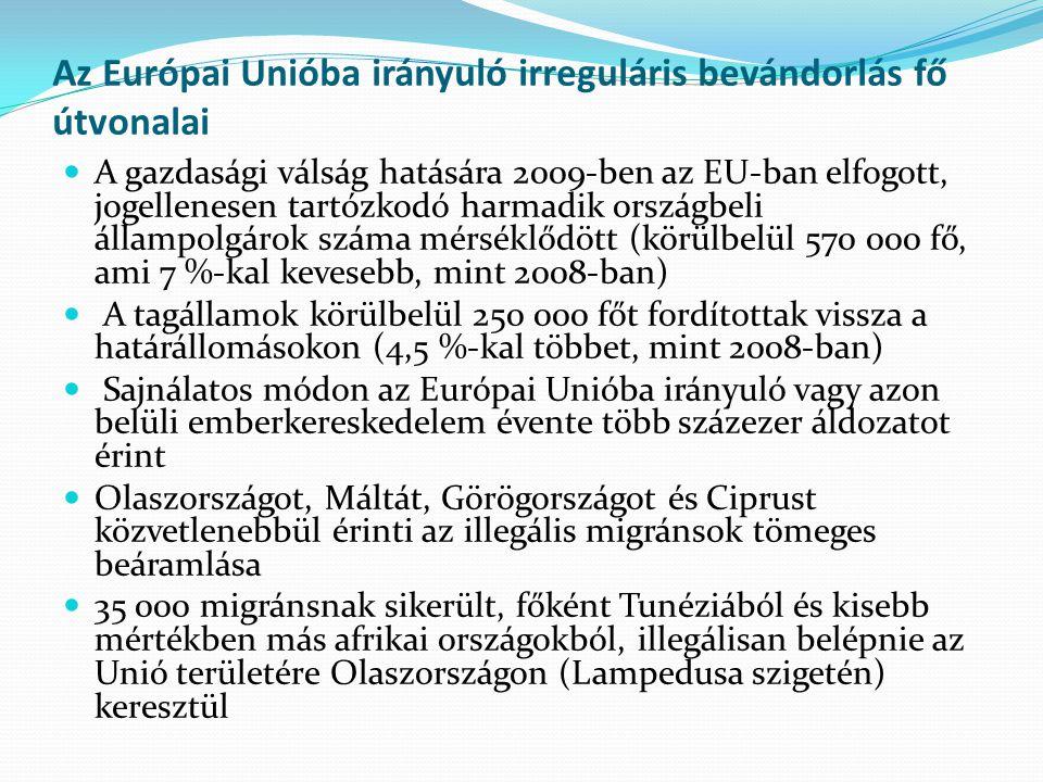Az Európai Unióba irányuló irreguláris bevándorlás fő útvonalai