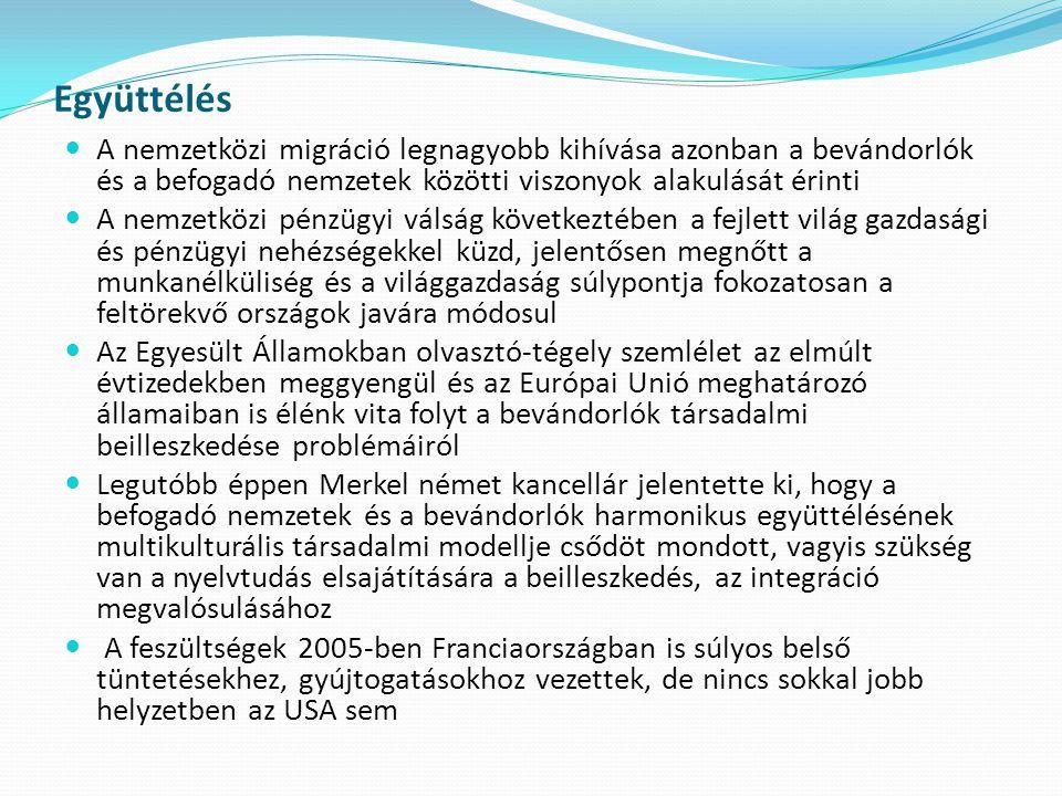 Együttélés A nemzetközi migráció legnagyobb kihívása azonban a bevándorlók és a befogadó nemzetek közötti viszonyok alakulását érinti.