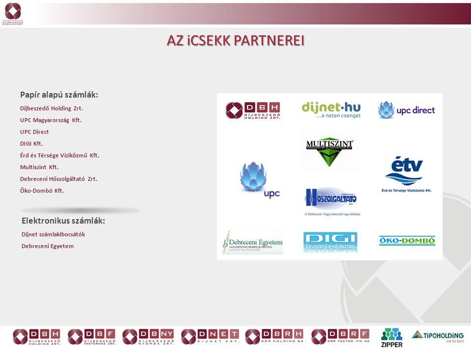 Az iCsekk partnerei Papír alapú számlák: Elektronikus számlák: