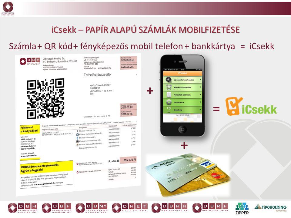 + = + icsekk – papír alapú számlák mobilfizetése Számla + QR kód