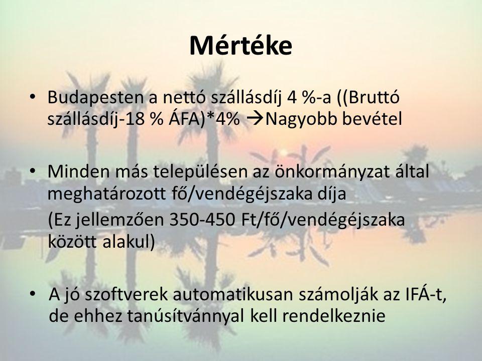 Mértéke Budapesten a nettó szállásdíj 4 %-a ((Bruttó szállásdíj-18 % ÁFA)*4% Nagyobb bevétel.