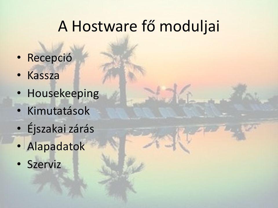 A Hostware fő moduljai Recepció Kassza Housekeeping Kimutatások