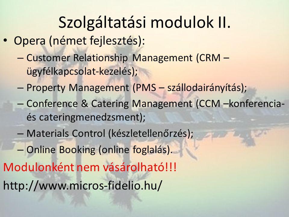 Szolgáltatási modulok II.