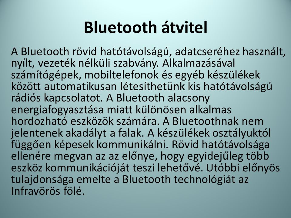 Bluetooth átvitel