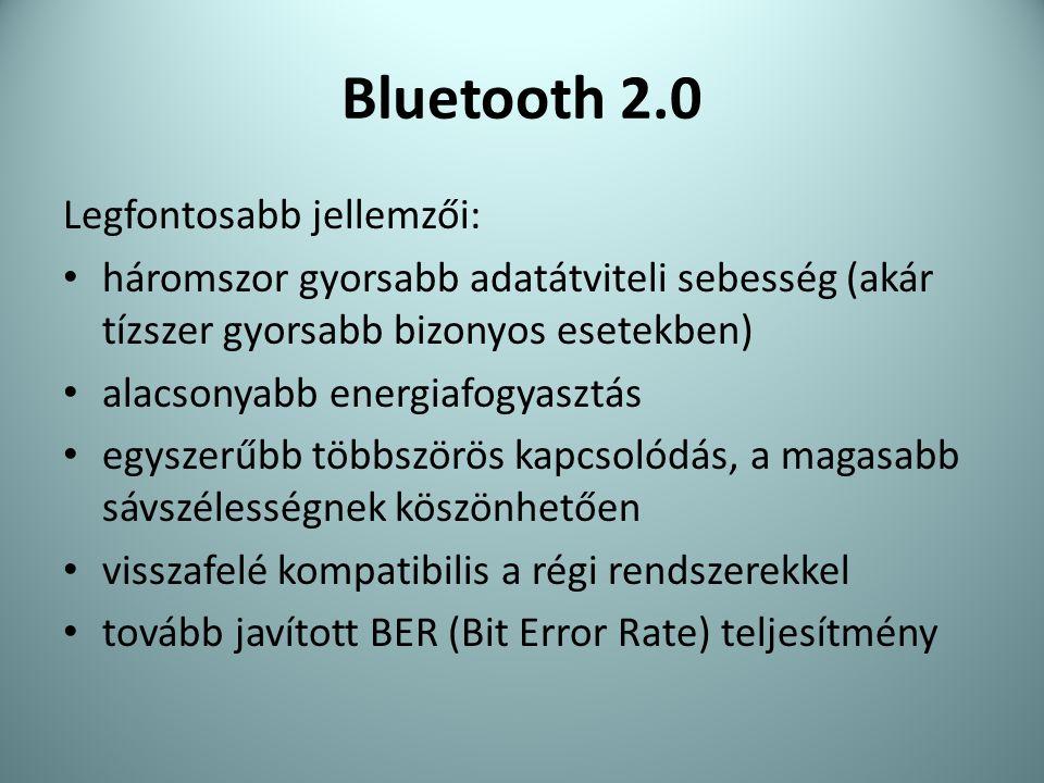 Bluetooth 2.0 Legfontosabb jellemzői: